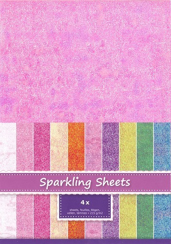 8.6955 Sparkling Sheets Pink, 4 sheets A4