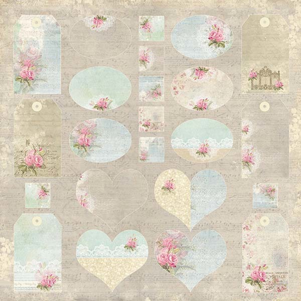 CP-ILV01 I LOVE VINTAGE Scrapbooking single paper 12x12, 200gsm